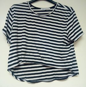 Black and White Striped High Low Top